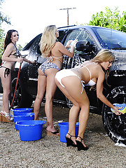 Capri Cavanni Lexi Belle Mia Malkova & Rachel Roxxx are cleaning a car when they get carried away and horny.  So they decide to fuck one lucky guy in fivesome!