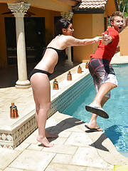 Riley Grey has hot sex after she shoves her friends brother in the pool.