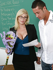 Holly Sampson gets flowers and a card from a student so she fucks him in her classroom.