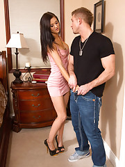 Gorgeous brunette Kendall Karson fucks her boyfriends son after shopping.