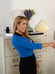 Capri Cavanni has hot office sex with a co-worker and gets fucked on a desk and loves it.