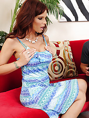 Syren De Mer is a horny cougar who fucks younger cock and loves riding it.