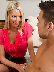 Emma Starr is horny and hot cougar who decides to fuck lucky guy in her house.