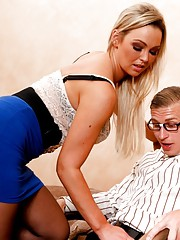 Naughty blonde fucks and sucks cock in the office