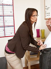 Horny teacher takes her students cock in her ass