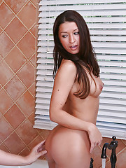 AnnMarie Rios is taking a shower at her friend's place. She doesn't want to wake up her friend's brother, so she is being very careful. It turns out h