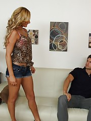 Sexy blonde babe gets fucked by her friends big cocked husband.