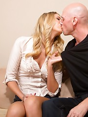 Gorgeous blonde babe gets to fuck her friends husband and ride his cock.
