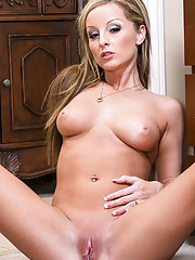 Hot blonde babe Melissa Matthews fucks her friends husband on the couch and orgasms.