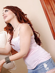 The sexy redhead Jessica is in town staying at Jordan's place for an audition. His wife completely forgot to tell him she was coming over. Another thing she forgot to tell him was that as a favor to his wife she will make sure Jordan is well taken ca