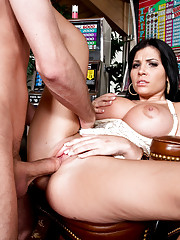 James Deen is looking for his father, Rebeca Linares is at home alone and horny. All she wants to do is show him her new tits that his dad got her.