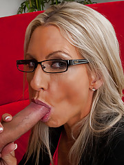 Hot blonde MILF fucks younger guy for his big cock.