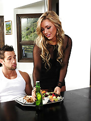 Gorgeous blonde Cameron Dee makes food for her boyfriends son so he is energized to fuck her pussy.