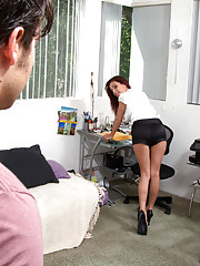 Ashley Graham is a horny girl who decides to fuck her boyfriends son and ride his thick cock.