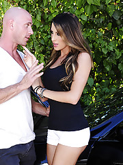 Kortney Kane is stuck because her car broke down so she gets her boyfriends son to come and fuck her to safety.