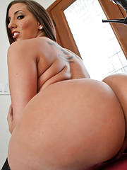 Big busty Kelly Divine shows off her ass and breasts then gets stuffed by big cock.