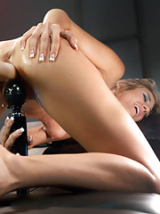 Tanned, toned, blonde babe gets her pussy fucked open & creamy by custom speed machines that make her cum multiple times & don