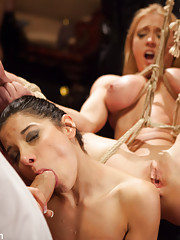 Two girls in suspension, bondage, anal fucking, big tit ties, sloppy cock sucking, doggie pussy fucking and a come sharing boy/girl/girl sex finale.