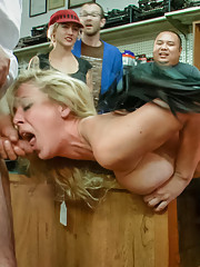 Sexy Blonde humiliated, fucked, flogged, face fucked with pussy. Hot Electricity play!