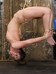 Casey Calvert endures crazy orgasms while gagged, foot tortured, pussy, ass fucked, suspended backbend, tits tied, face slapped suspended on Sybian