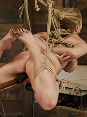 Huge tit Carissa Montgomery gets tits tied tight, gagged with panties, suspended hogtie, double vibe dildo fuck, legs spread wide fucked in her cunt