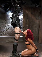 Anal Slave in predicament bondage, cattle prodded, learns to suck cock like a slave and gets fucked in the ass deeper and harder than ever before.