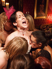 Our slave girls finish off the rest of the horny guests and torture the bartender with orgasms.