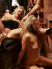 When two gorgeous slaves serve one hard dick, a full on kinky sex party breaks out on the Upper Floor