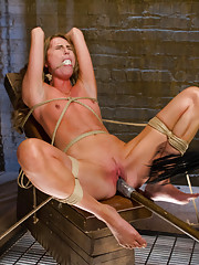 Gorgeous newcomer Roxy Rae fucked silly on Sybian, suspended and vibrated to orgasm, tied down and fucked till she squirts