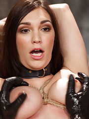Big Tit Holly Michaels in nipple predicament struggles with challenging orgasms, squirting pussy fucked with giant dildo, and reverse cowgirl training