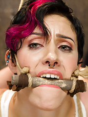 Inverted suspension, crucified girl, intense orgasms, tight gags, big tit bondage, tit canes, weighted nipple clamps