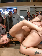 Audience fisting train!Sweet MILF sub gets pounded in the ass.