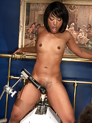 Smooth dark-skinned all natural babe machine fucked in her creamy, pink pussy but custom machines and the world