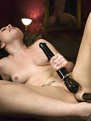 Sexy babe having intense orgasms with machines - she does double anal, DPs & fucks in her pussy & ass until all she can do is finger her gape & laugh!