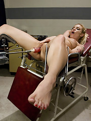 Over an hour of pounding by custom machines w/no off button. Ass & pussy fucked, nipples sucked, cumming over and over until she wobbles.