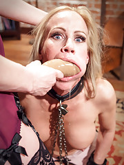 Perverse employment recruiter Maitresse Madeline dominates desperate MILF housewife Simone Sonay fisting and strap-on ass fucking her MILFy holes!