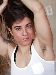 Mercedez shows her very hairy bush under her dress