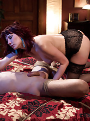 Maitresse Madeline hires 19 year old male prostitute and bends him over her knee to spank him then milks his prostate!