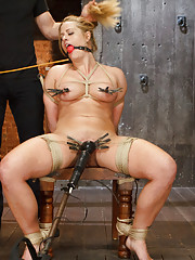 Big Tit MILF Holly Heart in tight crotchrope predicament bondage, tied toa chair with pussy clipped open, clit vibed, fucked with giant black cock