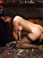 Kinky couple tie up and ass fuck a submissive lesbian.