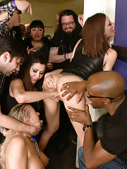 Crazy orgy at a packed house party. Squirt fest, girl/girl, DP, fisting.