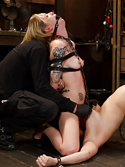 Hot girl on girl suffering with lots of pain and screaming orgasms while in tight devices.