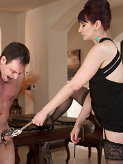 Maitresse Madeline beats chastity slave, makes him eat cum from her pussy and strap-on ass bangs him with a bag on his head for her neighbors to see!