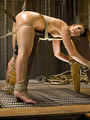 The Best Bondage Site on the Web Brutalizes Andre Shakti with terrible predicament bondage, ass hook, suspended pussy pounding by dick on a stick