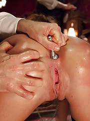 Two gorgeous girls fucked in the ass by one huge dominant dick