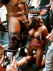 Lexington Steele breaks in his obedient whore Sadie Santana in his first ever kink.com appearance.