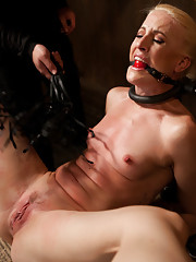 Tall hot blonde is bound in extreme devices, tortured, and made to squirt
