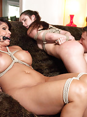 Stepmother and daughter bondage sex fantasy with Shay Fox and Lola Foxx.