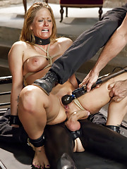 MILF slave training Holly Heart in zipper stress positions, made to gag down huge cock, fucked in the pussy and banged in the ass.