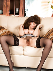 Hot British mommy with big soft boobs has a juicy hairy pussy